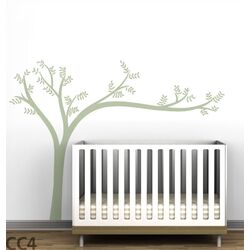 Trees Monochromatic Leaning Wall Decal