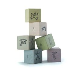 Wooden Blocks in Distressed Pastels