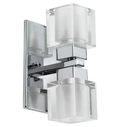 New Era Glass Cube Two Light Wall Sconce with Clear/Frosted Glass in Polished Chrome