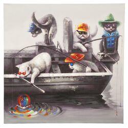 Feline Fish Painting Print on Canvas