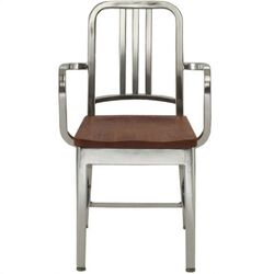 Natural Wood Seat Navy Dining Arm Chair
