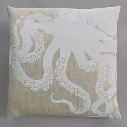 Octopus White Pillow on Natural Linen