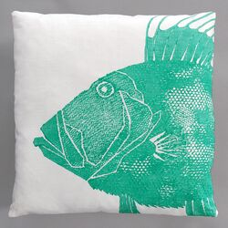 Dory Turquoise Pillow on White Linen