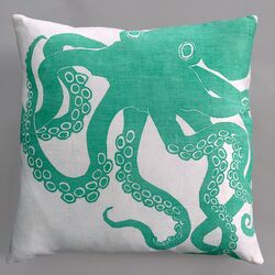 Octopus Turquoise Pillow on White Linen