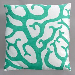 Coral Turquoise Pillow on White Linen