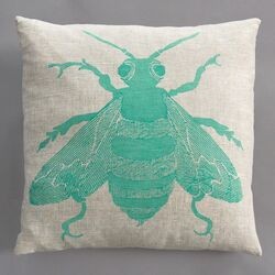 Bee Turquoise Pillow on Natural Linen
