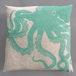 Octopus Turquoise Pillow on Natural Linen