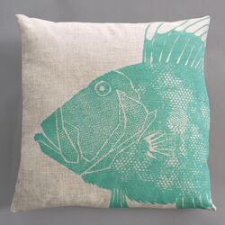 Dory Turquoise Pillow on Natural Linen