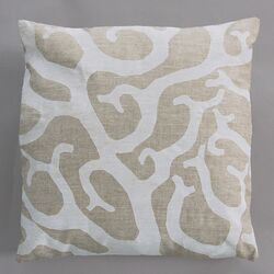 Coral White Pillow on Natural Linen