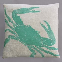 Big Crab Turquoise Pillow on Natural Linen