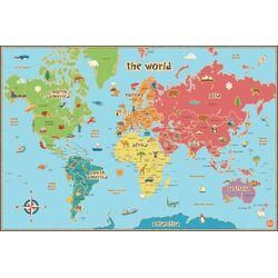 Dry Erase Kids World Map Wall Mural