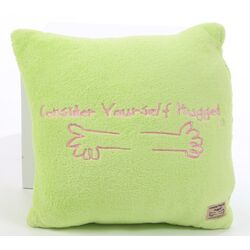 Marshmallow Plush Cuddle Pillow in Lime with Bubble Gum Pink Hug