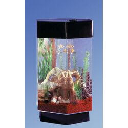 Midwest tropical fountain aqua 55 gallon tower octagon for Octagon fish tank with stand