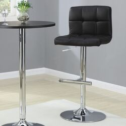 Groom Barstool with Quilted Back in Black (Set of 2)