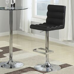 Groom Barstool with Ridged Back in Black (Set of 2)