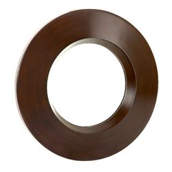 Contemporary Plain Round Mirror in Walnut