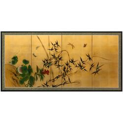 Butterflies and Bamboo on Gold Leaf Wall Art