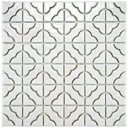 Castle 11.75'' x 11.75'' Porcelain Hand-Painted Tile in Off White