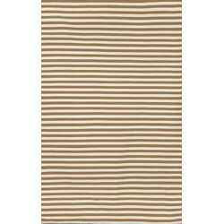 Sorrento Mini Stripe Khaki Brown/Tan Indoor/Outdoor Area Rug