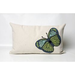 Butterfly Rectangle Indoor/Outdoor Pillow in Green