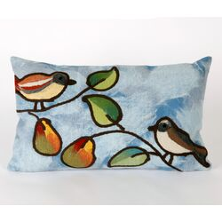 Song Birds Rectangle Indoor/Outdoor Pillow in Blue