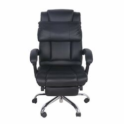 High-Back Leather Executive Office Chair with Footrest