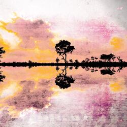 Reflecting Pond Painting Print on Canvas