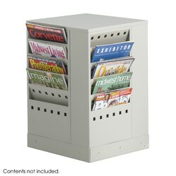 Steel Rotary Magazine Rack, 20 Compartments