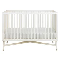 Mid-Century Two Piece Crib Set in French White