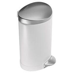 6 L / 1.6 Gal, Mini Semi Round Step Trash Can, White Steel