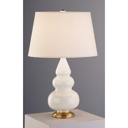 Small Triple Gourd Accent Lamp in Bone with Brass Base