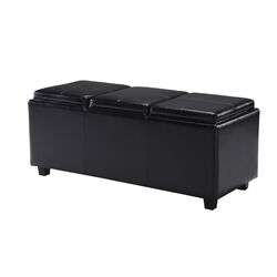 Avalon Rectangular Storage Ottoman with 3 Serving Trays
