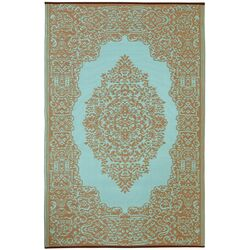 World Istanbul Fair Aqua/Warm Taupe Indoor/Outdoor Rug
