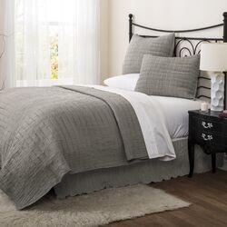 Crinkle 3 Piece Solid Quilt Set