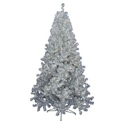 8' Silver Artificial Christmas Tree with 600 Clear Mini Lights with Stand