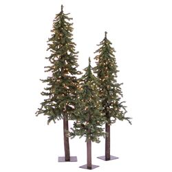 Natural Alpine Green Artificial Christmas Tree with 185 Clear Lights