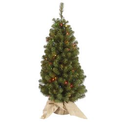 Felton 3.5' Green Pine Artificial Christmas Tree with 100 Multi-Colored Lights