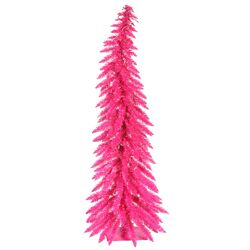 Colorful 4' Pink Artificial Christmas Tree with 70 Single Colored Lights