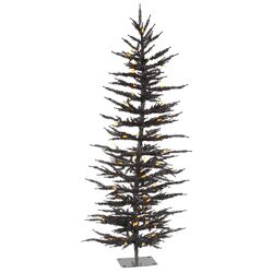 4' Black Laser Artificial Christmas Tree with 70 LED Single Colored Lights
