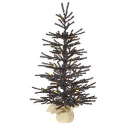 Pistol 2.5' Black Artificial Christmas Tree with 35 LED Orange Lights with Stand