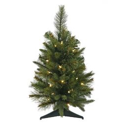 Cashmere 2' Green Pine Artificial Christmas Tree with 30 LED White Lights