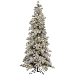 Flocked Kodiak 6' White Spruce Artificial Christmas Tree with 450 LED White Lights