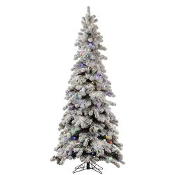 Flocked Kodiak 6' White Spruce Artificial Christmas Tree with 450 LED Multi-Colored Lights