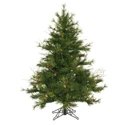 Flocked Kodiak 4.5' Green Pine Artificial Christmas Tree with Unlit with Stand