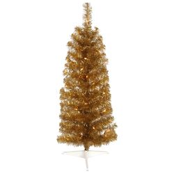 Colorful 3' Ant Gold Artificial Christmas Tree with 50 Clear Lights
