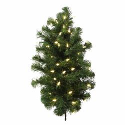 Douglas Fir 2' Green Fir Artificial Christmas Tree with 50 LED White Lights with Stand ...