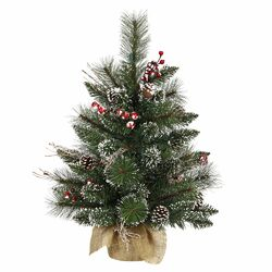 Snow Tip Pine / Berry 2' Pine Artificial Christmas Tree