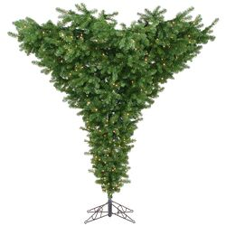 Upside Down 9' Green Artificial Christmas Tree with 800 Dura-Lit Clear Lights with Stand
