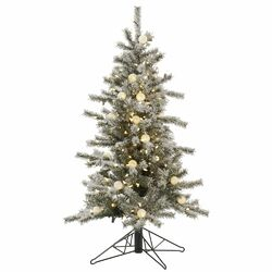 Flocked London Slim 4' White Artificial Christmas Tree with 225 LED White Lights