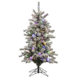 Flocked London Slim 4' White Artificial Christmas Tree with 225 LED Multi-Colored Lights